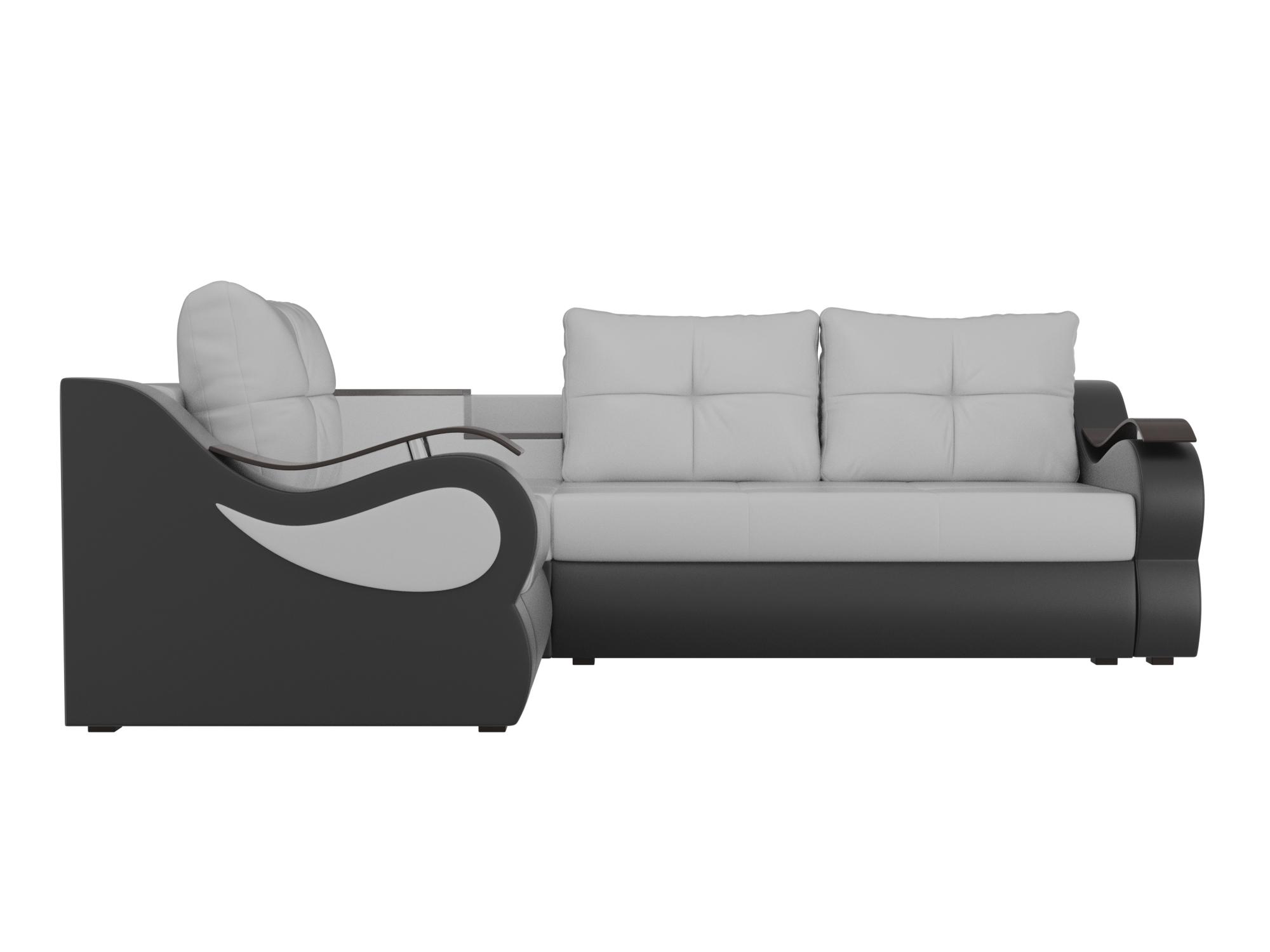 Угловой диван Митчелл Левый MebelVia Белый, Черный, Экокожа, ЛДСП Белый, Черный