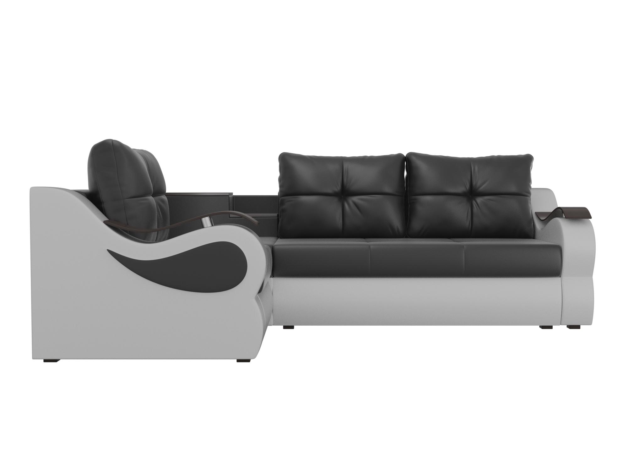 Угловой диван Митчелл Левый MebelVia Черный, Белый, Экокожа, ЛДСП Белый, Черный