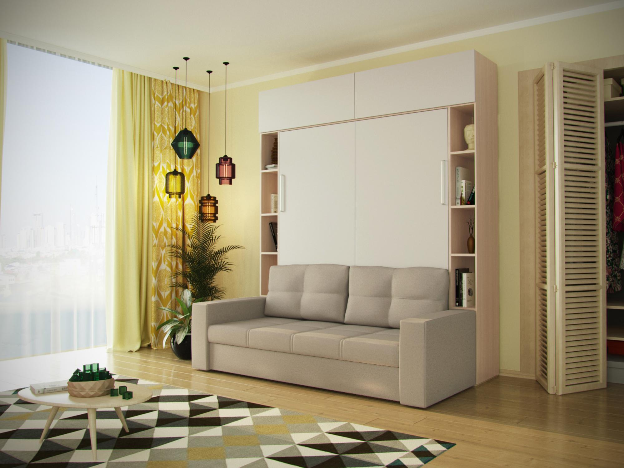 Многофункциональный трансформер шкаф-диван-кровать MebelVia Бежевый, Белый