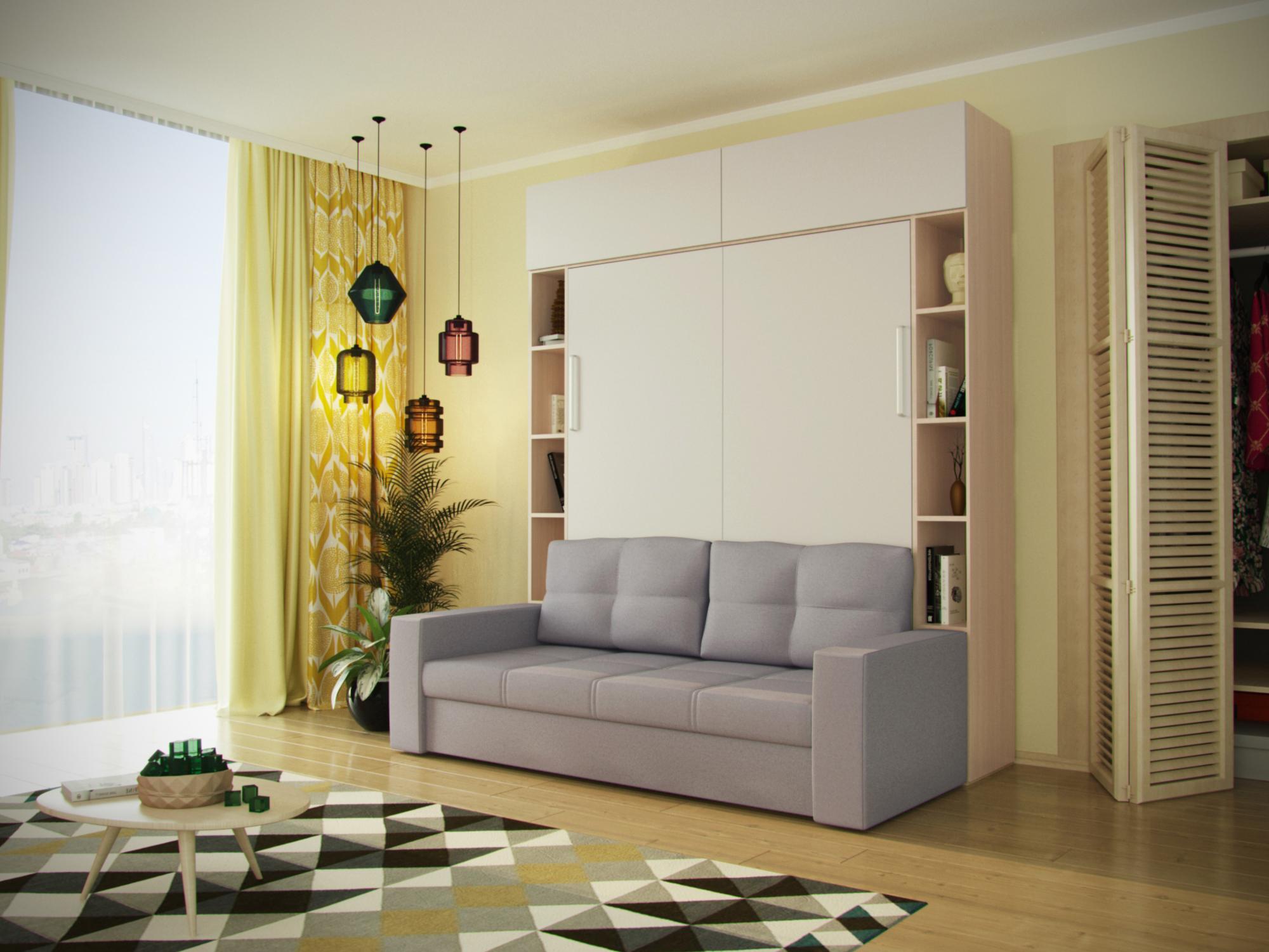 Многофункциональный трансформер шкаф-диван-кровать MebelVia Серый Бежевый, Белый, Серый