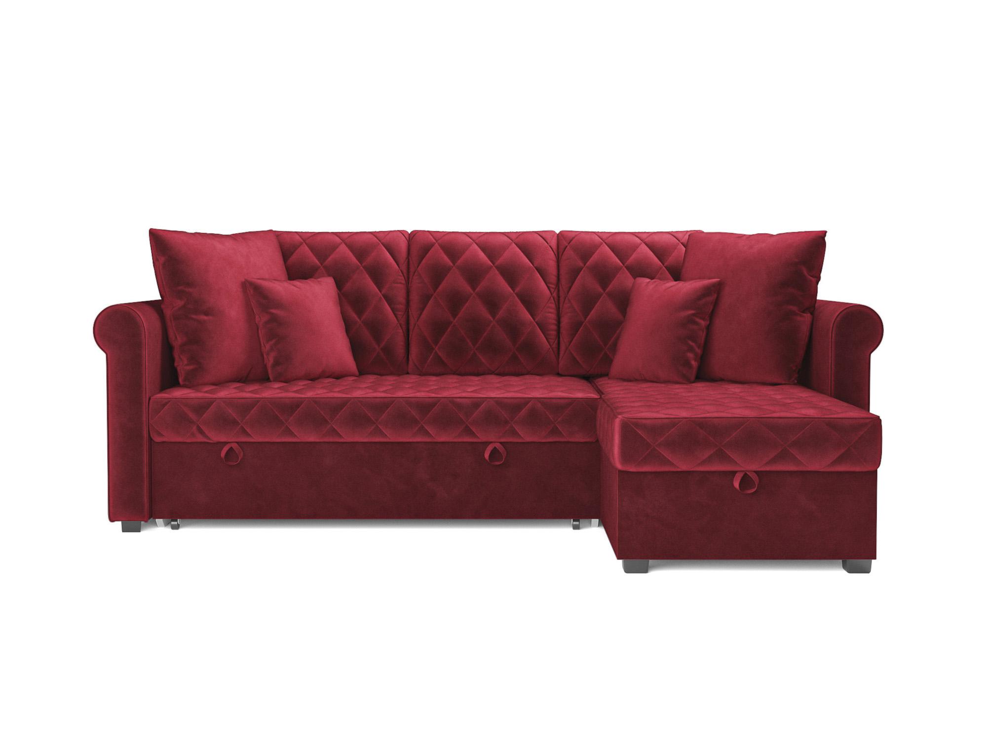 Угловой диван Берлин MebelVia Красный, Вельвет бархатного типа, ДСП Красный
