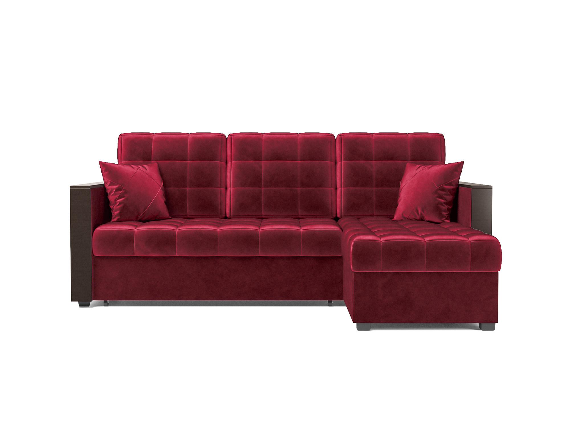 Угловой диван Техас MebelVia Красный, Вельвет бархатного типа, ДСП Красный