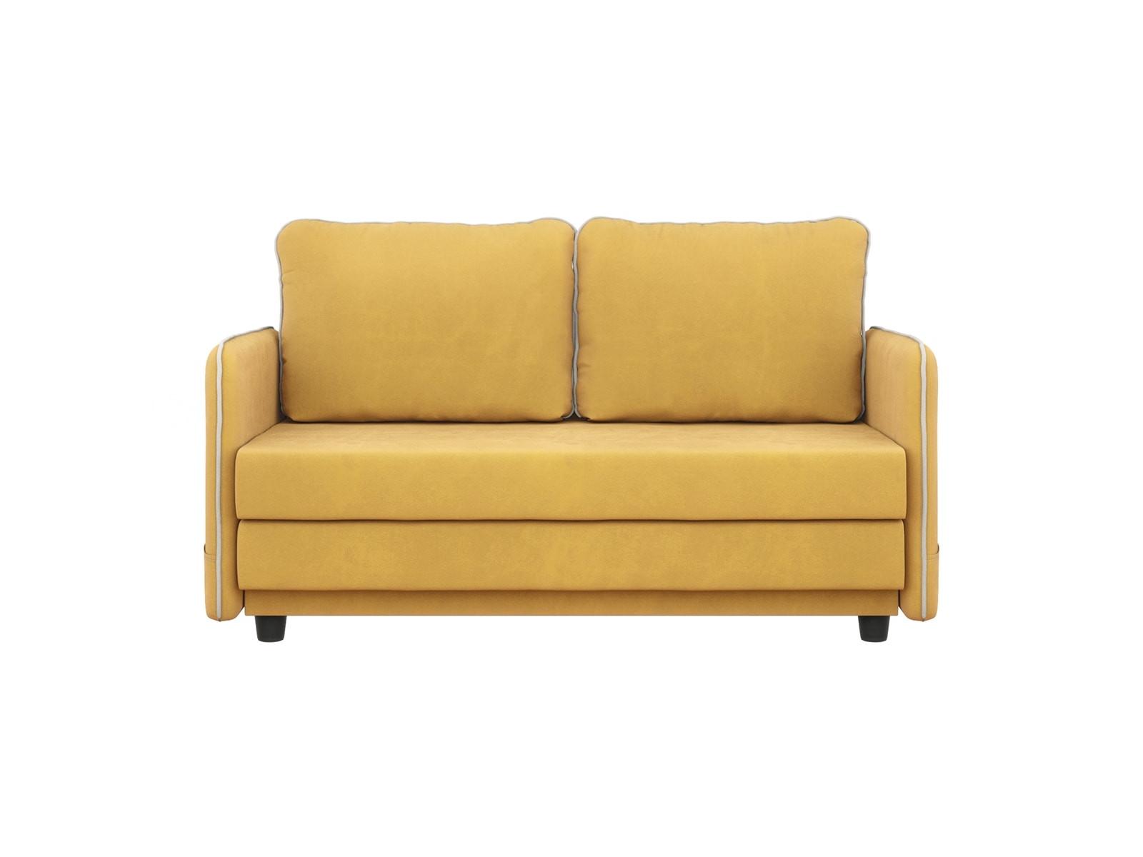 Диван тканевый прямой Слим мини MebelVia Желтый, Велюр, Мебельная пли Желтый