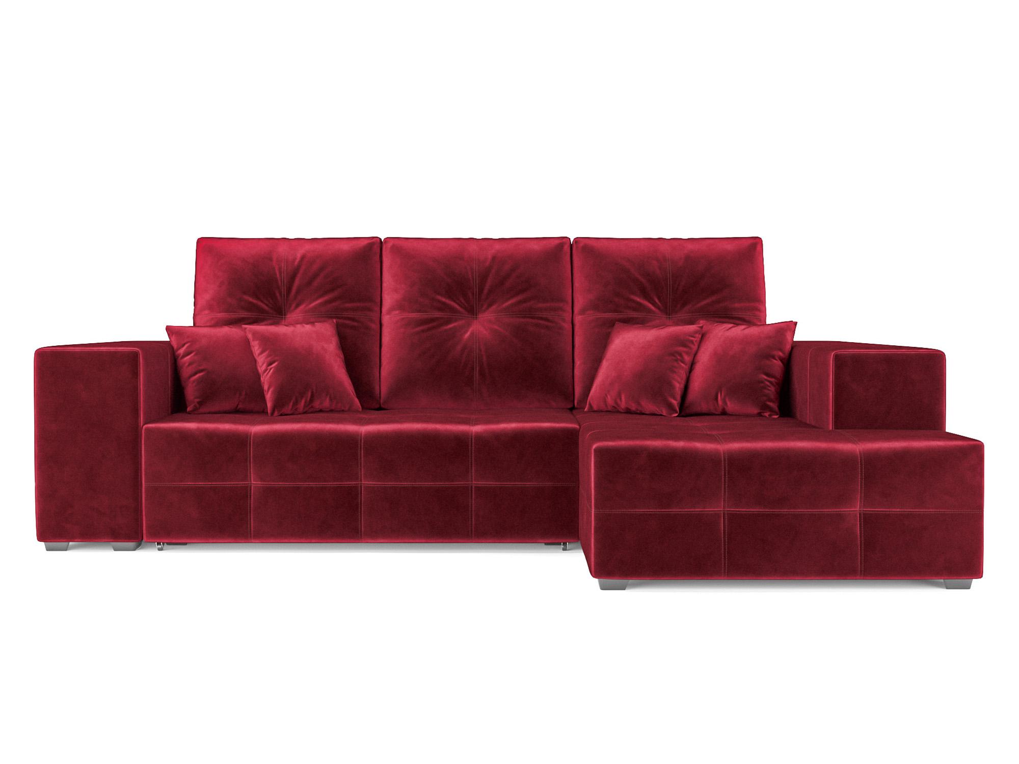 Угловой диван Монреаль Правый угол MebelVia Красный, Вельвет Красный