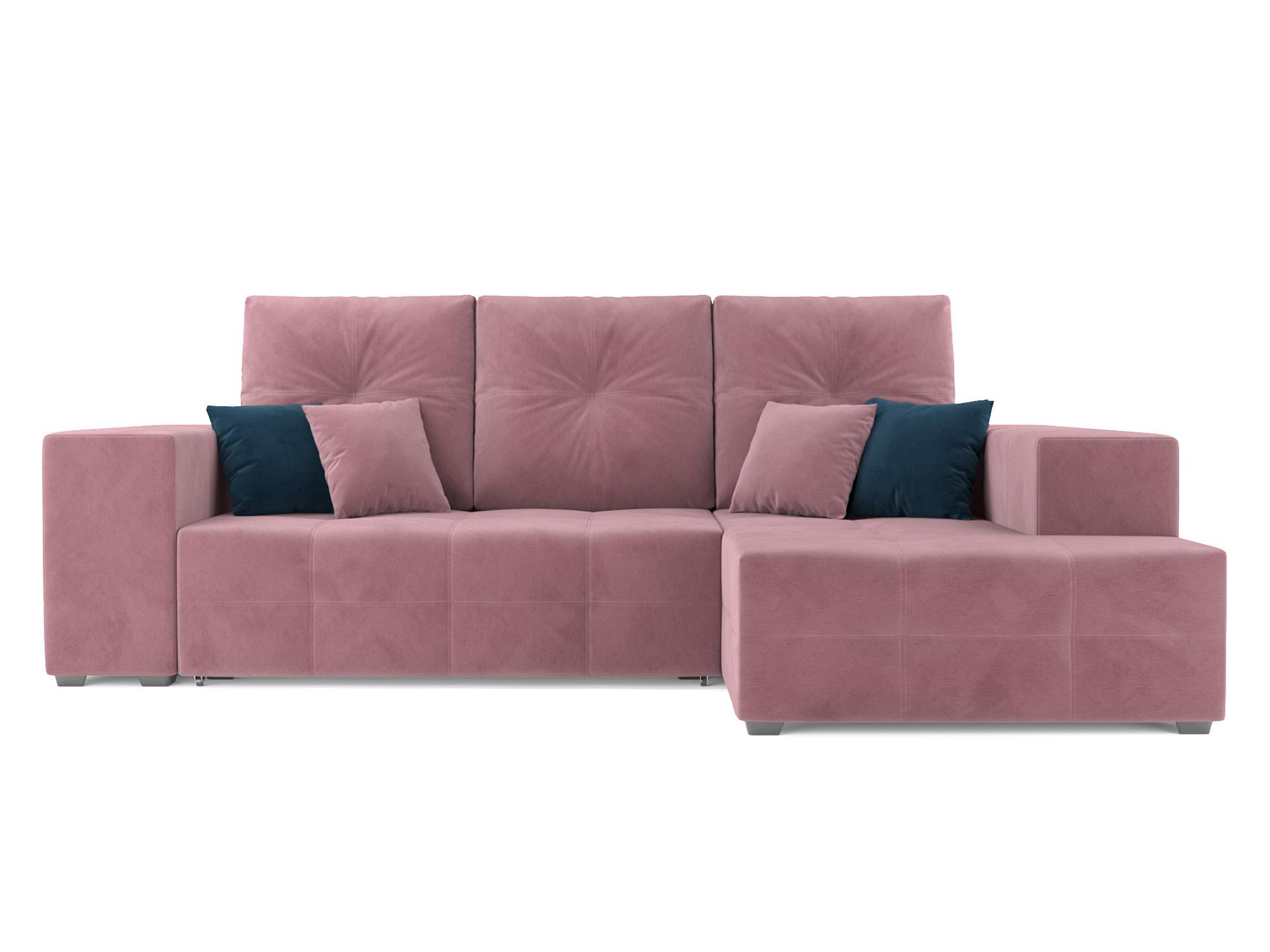 Угловой диван Монреаль Правый угол MebelVia Розовый, Велюр, ДСП, Брус Розовый