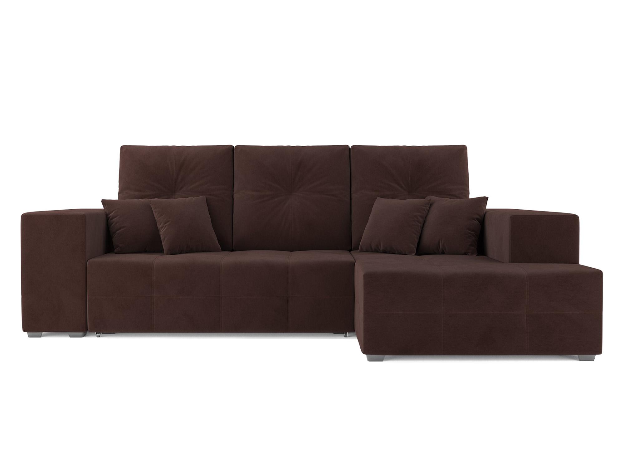 Угловой диван Монреаль Правый угол MebelVia Коричневый темный, Велюр Коричневый темный