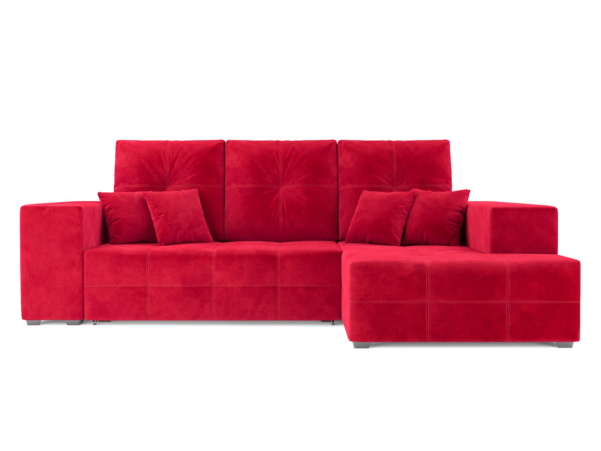 Угловой диван Монреаль Правый угол MebelVia Красный, Микровельвет Красный