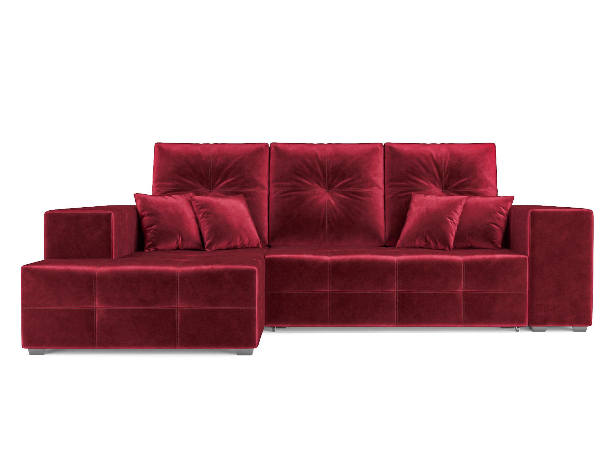 Угловой диван Монреаль Левый угол MebelVia Красный, Вельвет Красный
