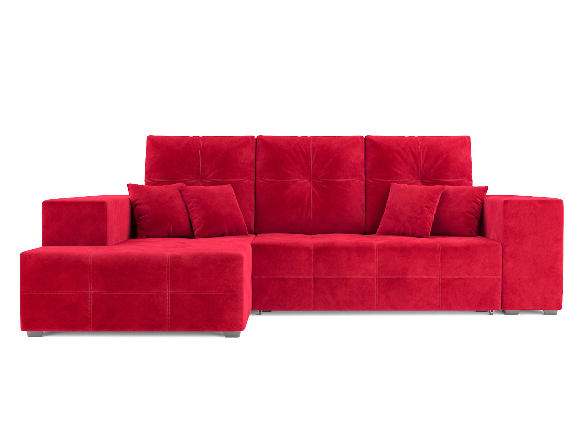 Угловой диван Монреаль Левый угол MebelVia Красный, Микровельвет Красный