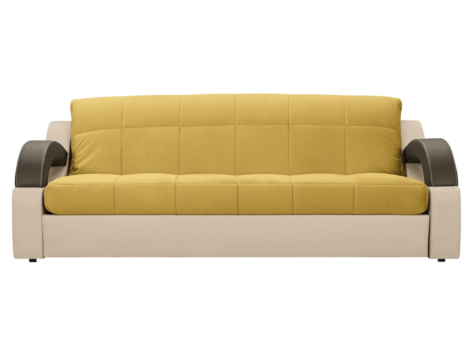 Диван тканевый прямой Мадрид MebelVia Желтый, Экокожа, Брусок хвойных Желтый