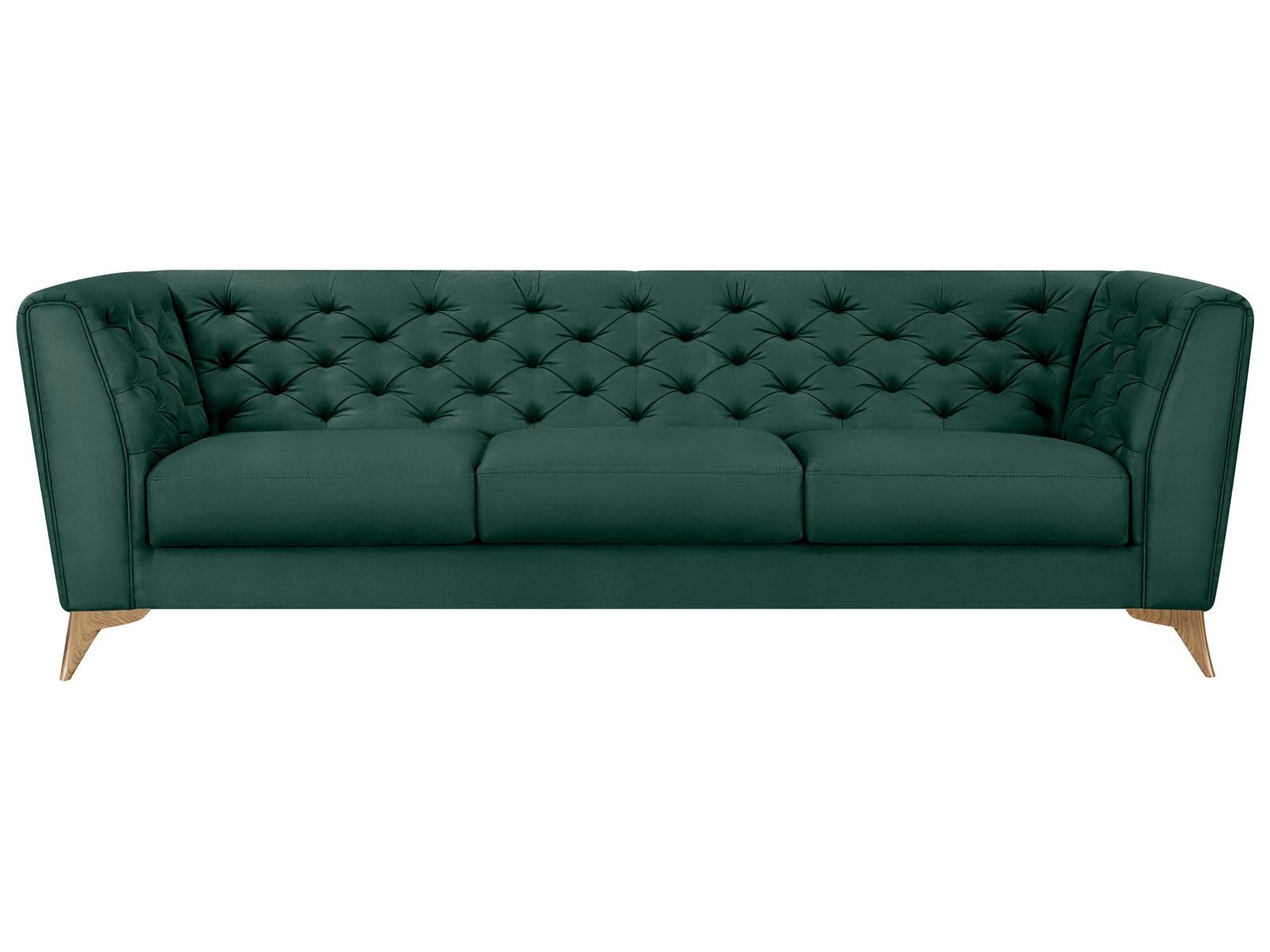 Диван тканевый прямой Честер MebelVia Зеленый, Искусственная замша, Д Зеленый