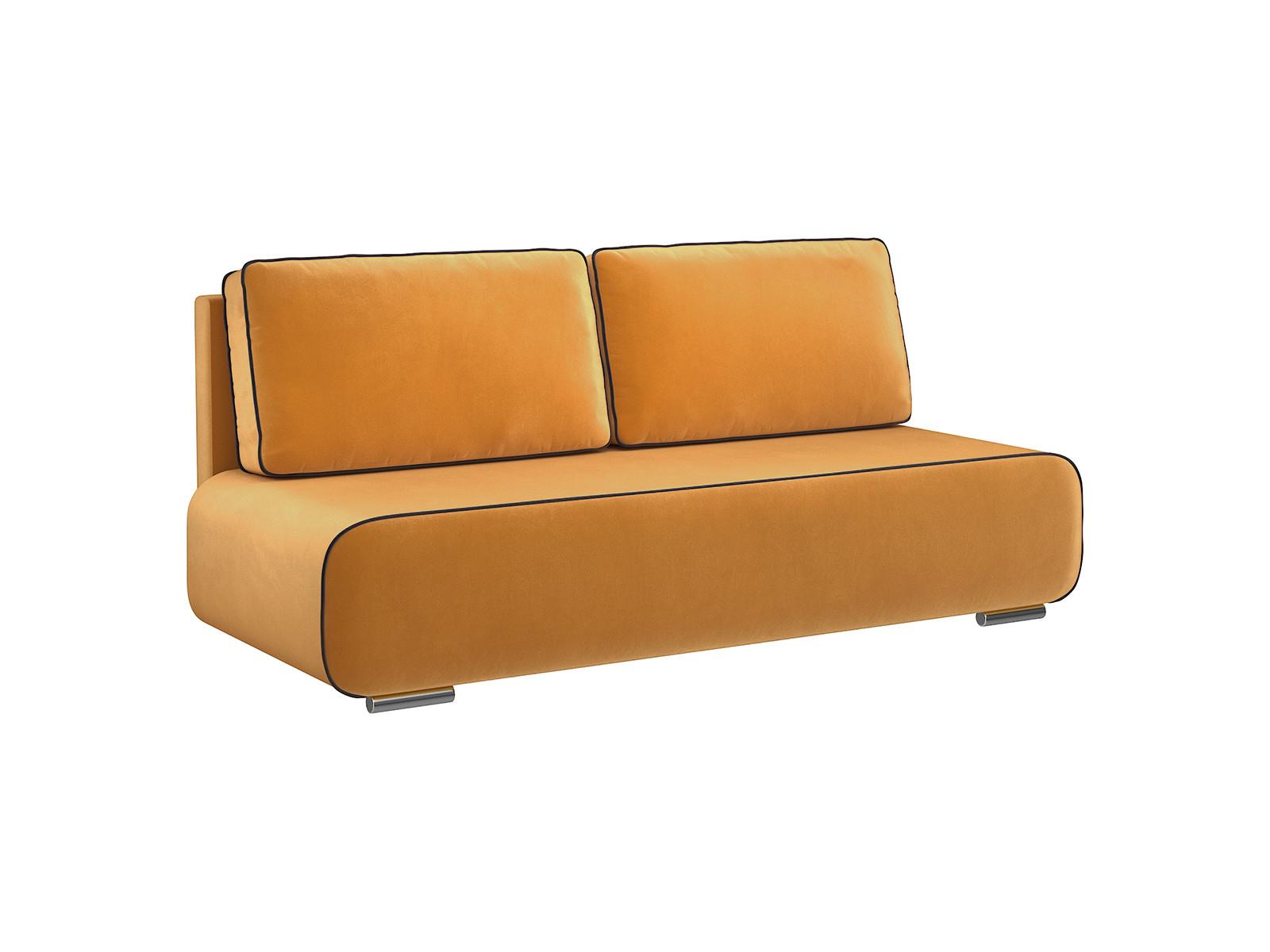 Диван тканевый прямой Лаки D1 furniture Amigo жёлтый (Велюр) MebelVia Желтый Желтый
