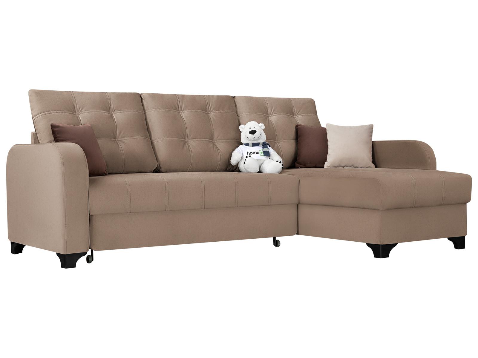 Диван тканевый угловой Ливерпуль D1 furniture Velure коричневый (Велюр) Коричневый