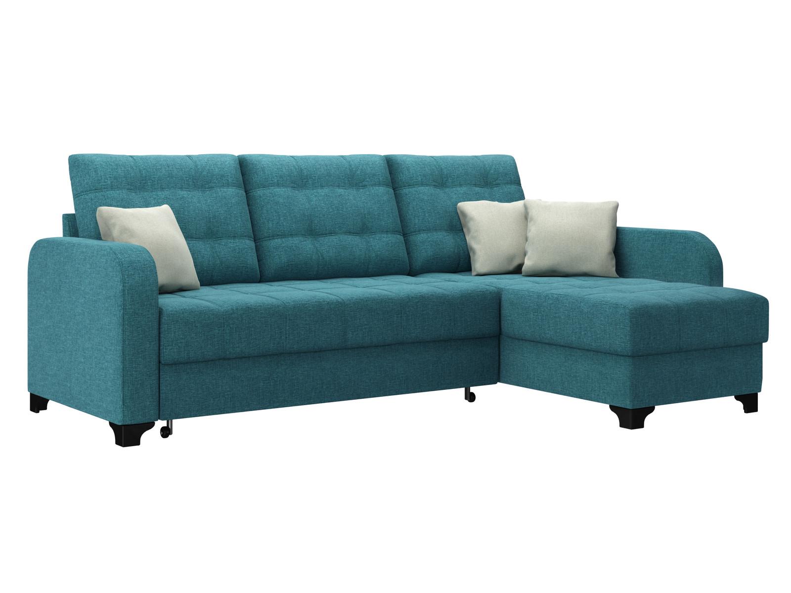 Диван тканевый угловой Ливерпуль D1 furniture Baltic бирюзовый (Рогожка) Голубой