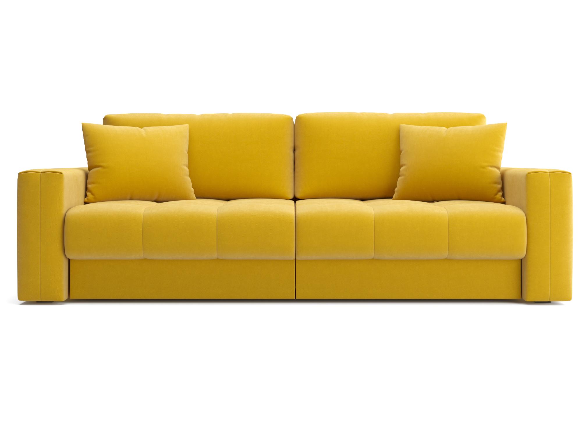 Диван прямой Кастел MebelVia Зеленый, Желтый, Велюр, Фанера Желтый, Зеленый