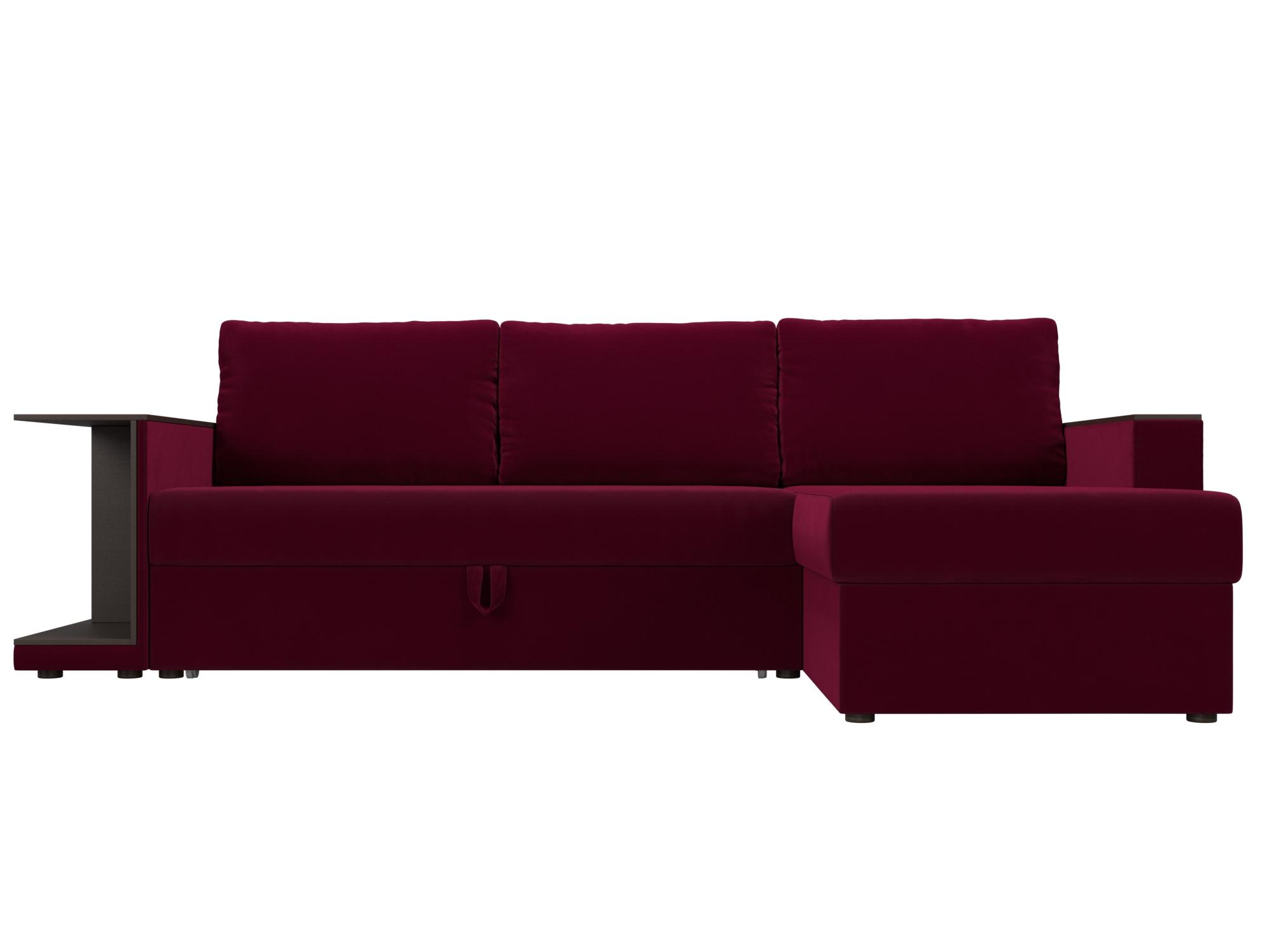 Угловой диван Атланта С Правый MebelVia Красный, Микровельвет, ЛДСП Красный