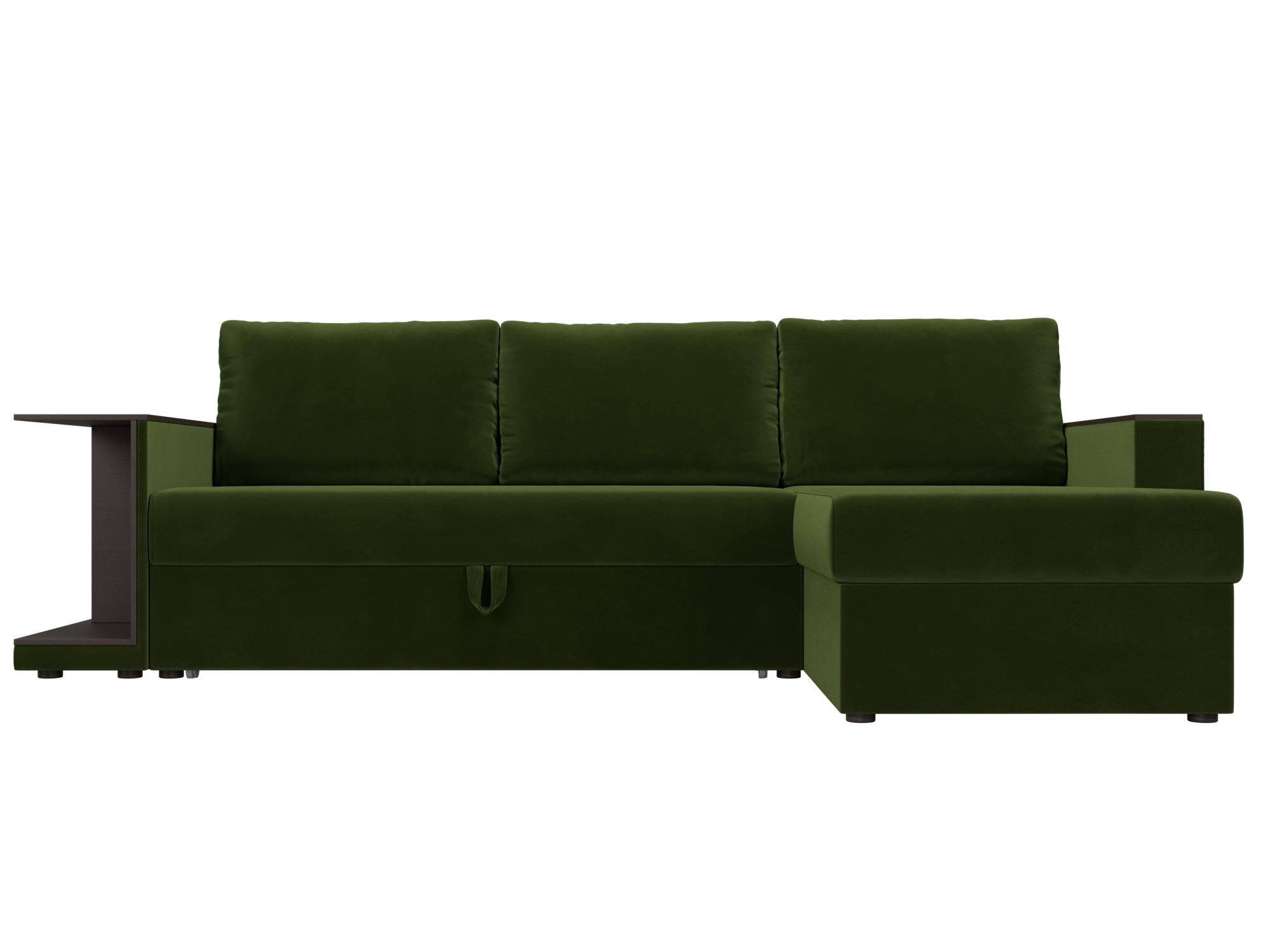 Угловой диван Атланта С Правый MebelVia Зеленый, Микровельвет, ЛДСП Зеленый