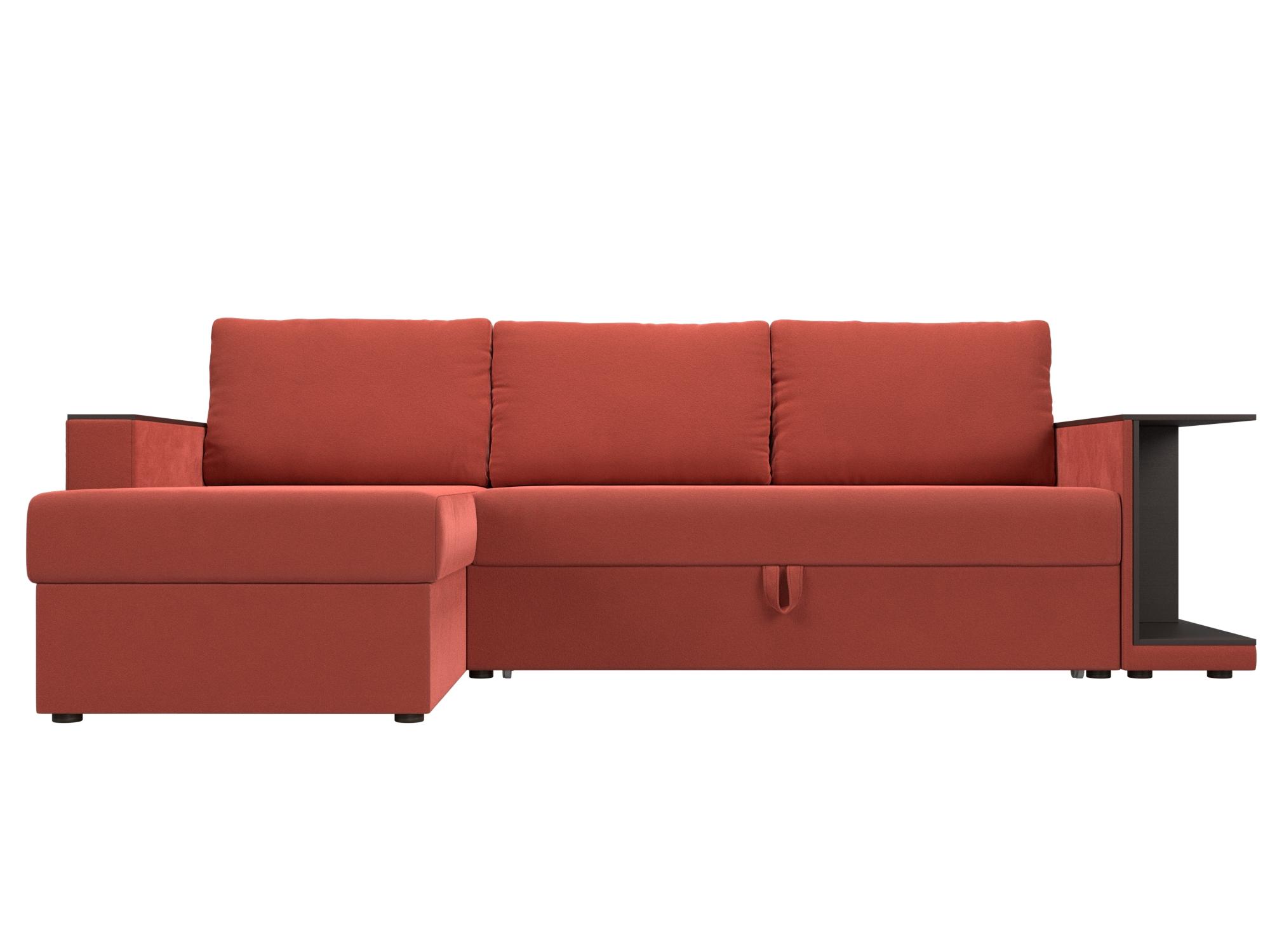 Угловой диван Атланта С Левый MebelVia Красный, Микровельвет, ЛДСП Красный