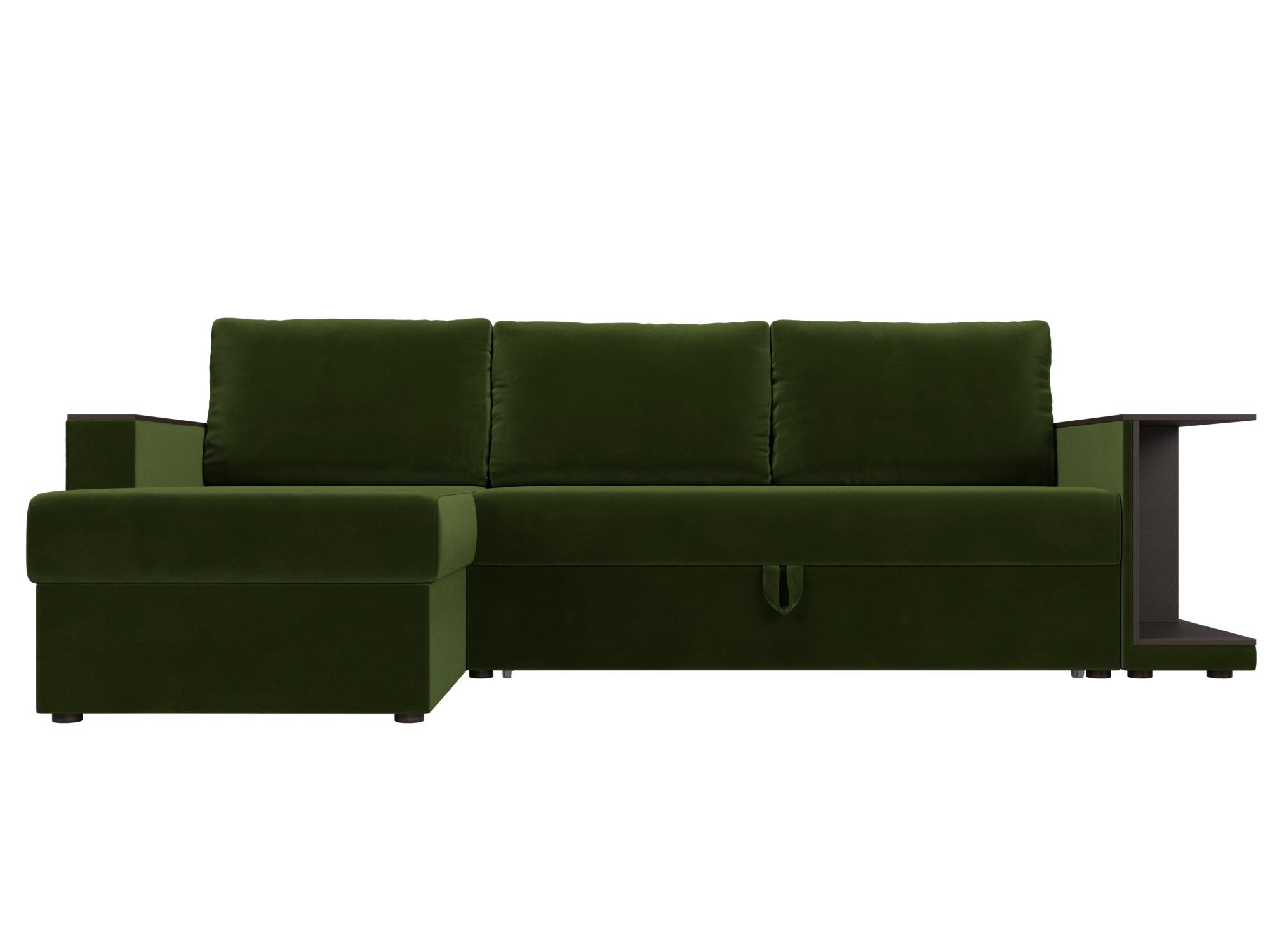 Угловой диван Атланта С Левый MebelVia Зеленый, Микровельвет, ЛДСП Зеленый