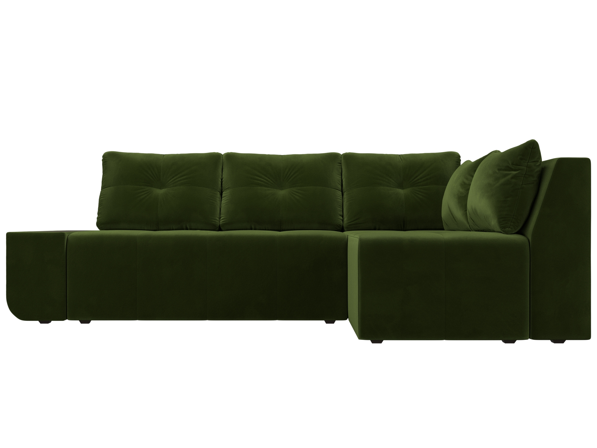 Угловой диван Амадэус Правый MebelVia Зеленый, Микровельвет, ЛДСП Зеленый