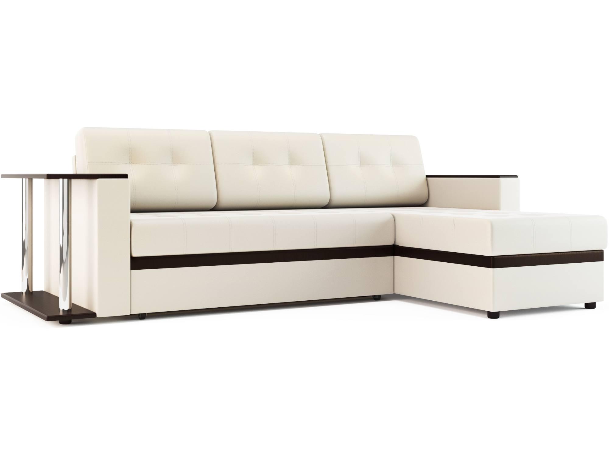 Угловой диван Атланта (экокожа) MebelVia Белый