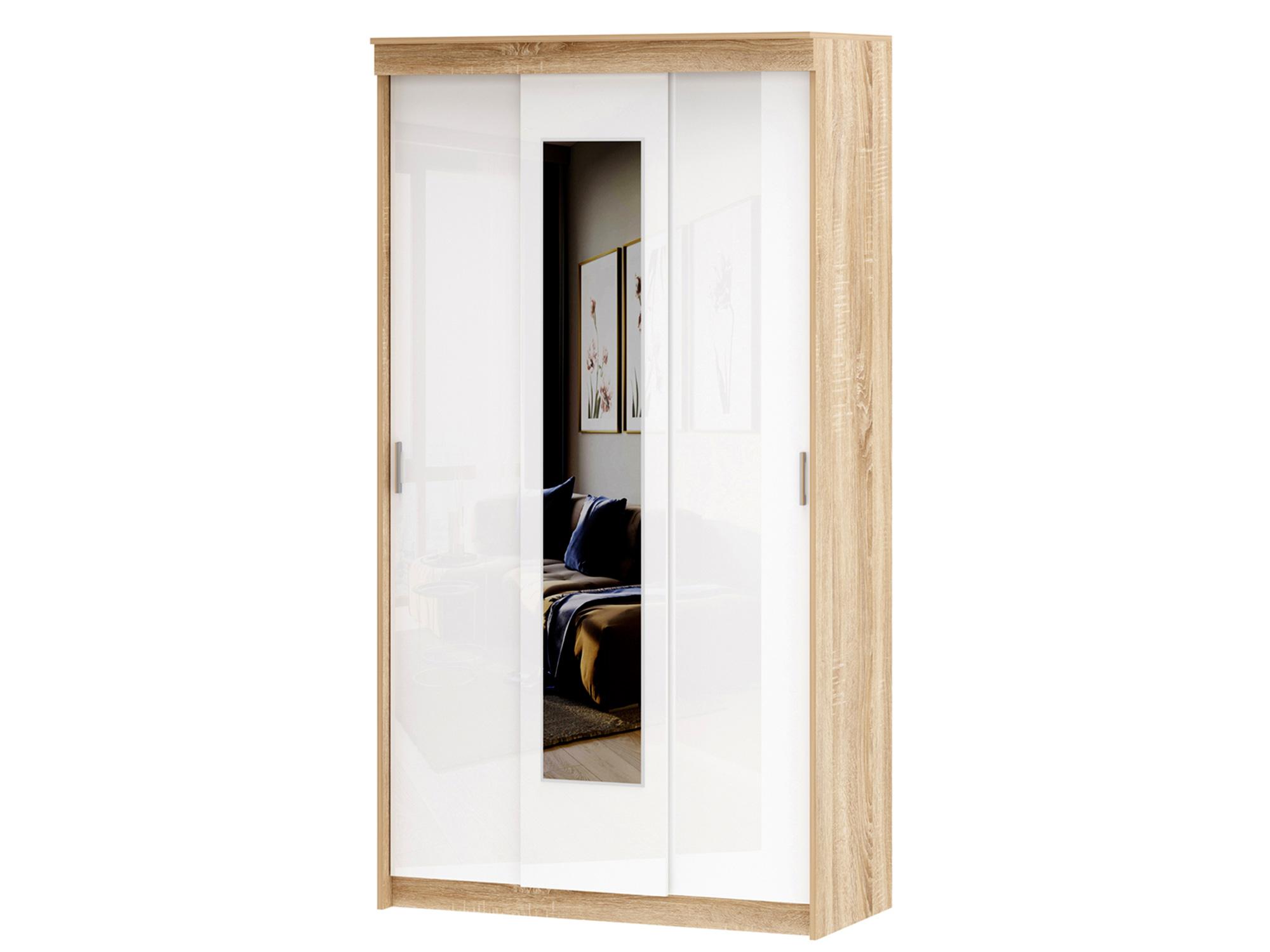 Шкаф-купе 3-х дверный Беатрис Бежевый, Белый, Белый глянец