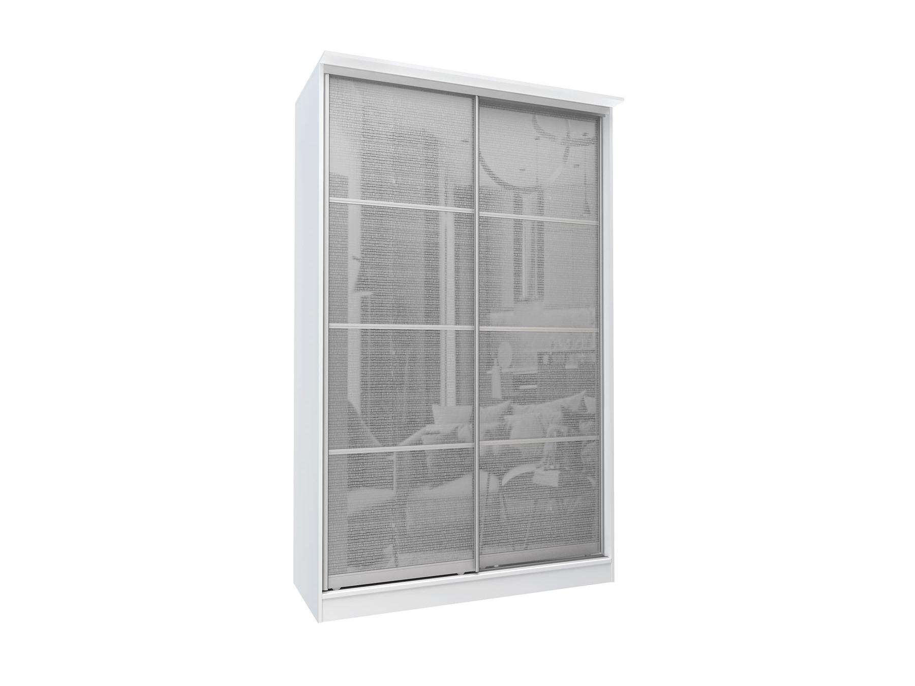 Шкаф-купе 2-х дверный с зеркалами Байкал Белый, Зеркало, ЛДСП Белый