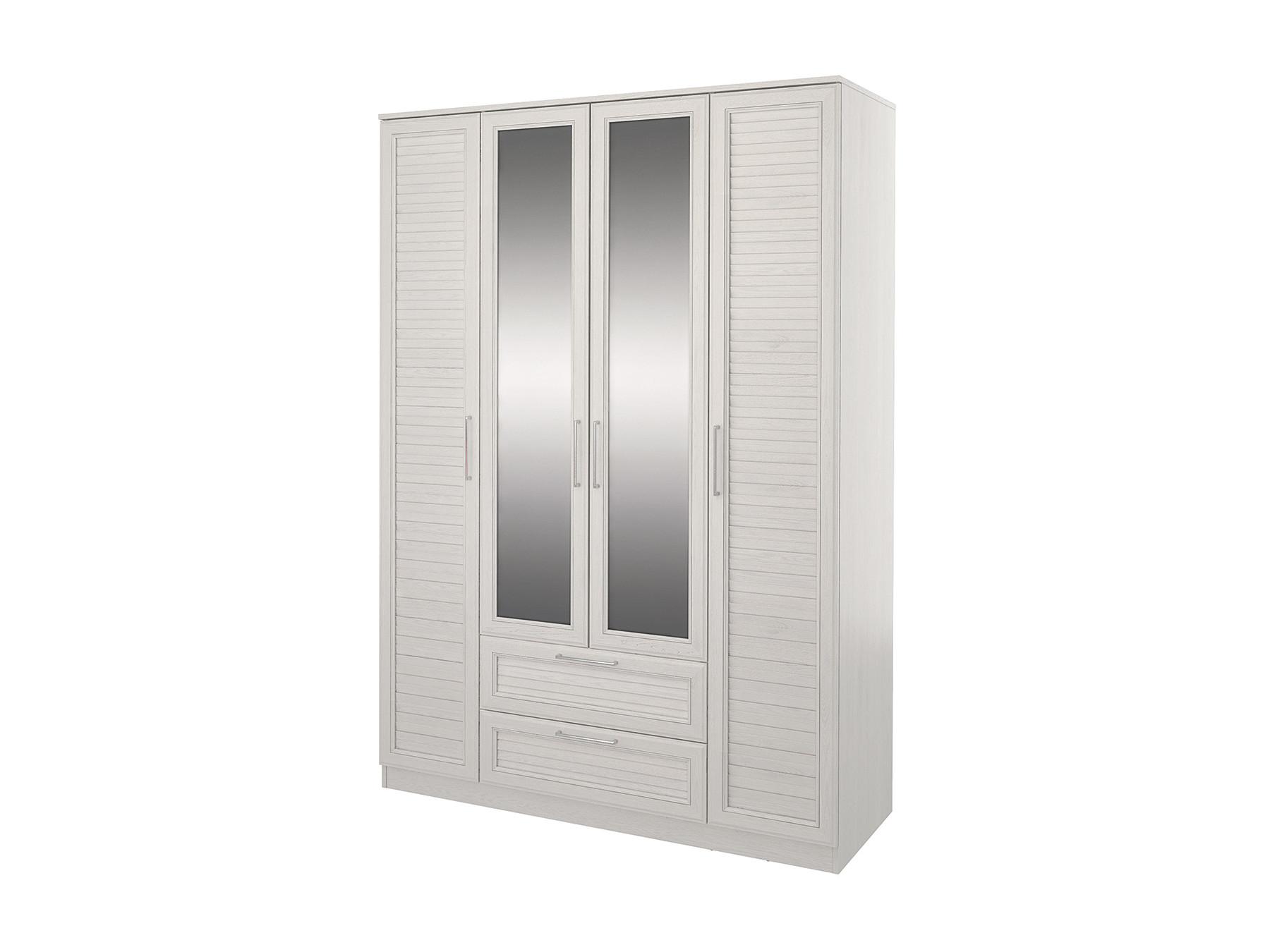 Шкаф 4-х дверный Лоретт Дуб белый, Белый, МДФ профиль, ДСП Белый, Дуб белый